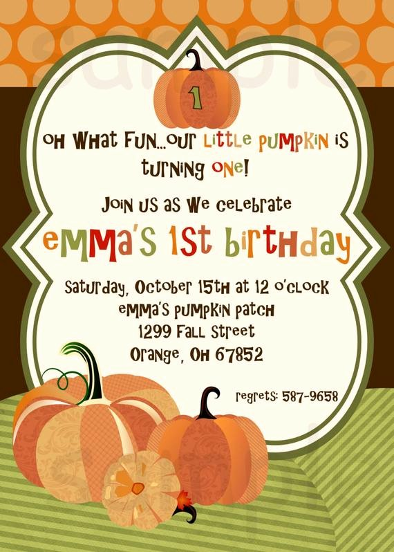 Fall Party Invitation Template Beautiful Items Similar to Pumpkin Birthday Party Invitation Little