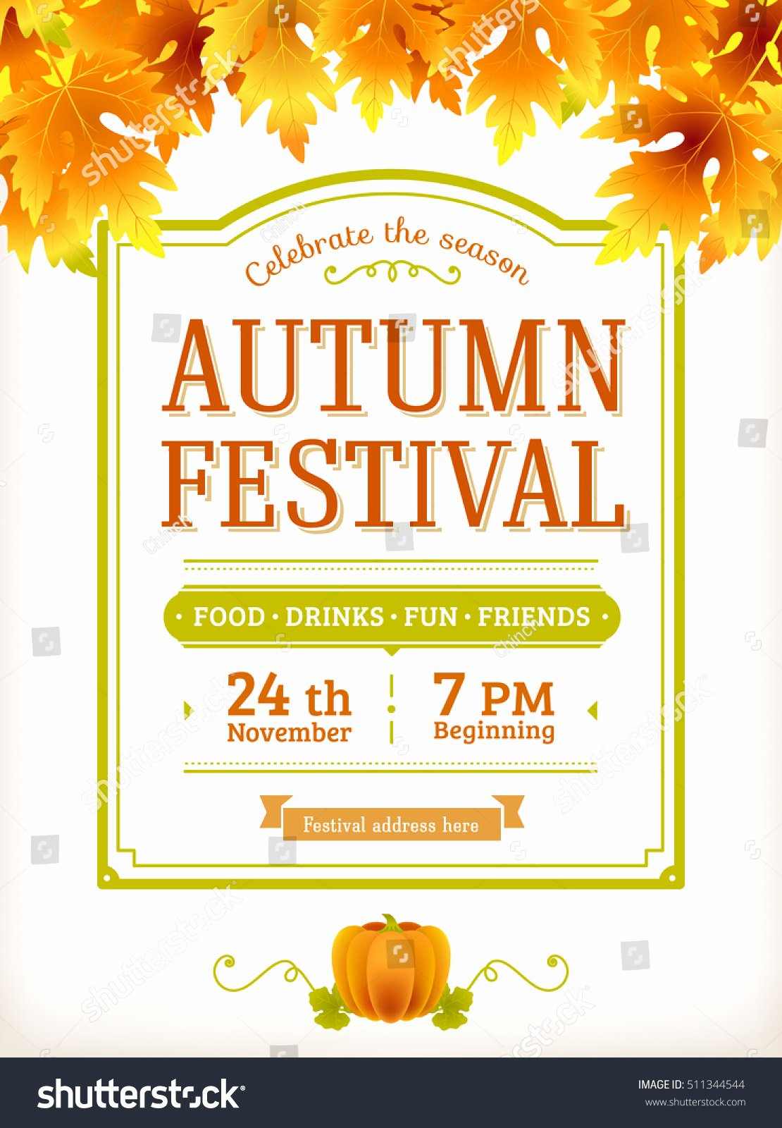 Fall Party Invitation Template Fresh Autumn Festival Invitation Fall Party Template Stock