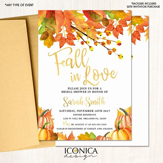 Fall Party Invitation Template Fresh Fall In Love Bridal Shower Invitation Fall Party