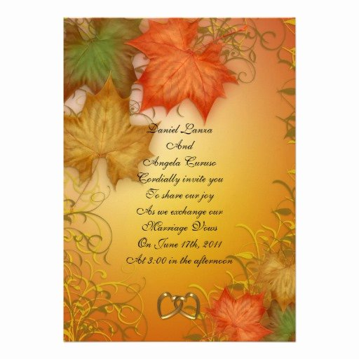 """Fall Party Invitation Template Lovely Fall Wedding Invitation or Party 5"""" X 7"""" Invitation Card"""