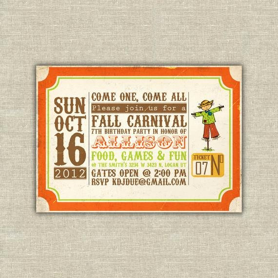Fall Party Invitation Template Luxury Items Similar to Harvest Party Invitations Carnival Ticket