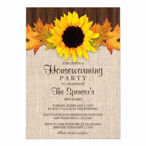 Fall Party Invitation Template Luxury Rustic Fall Sunflower Housewarming Party Invites