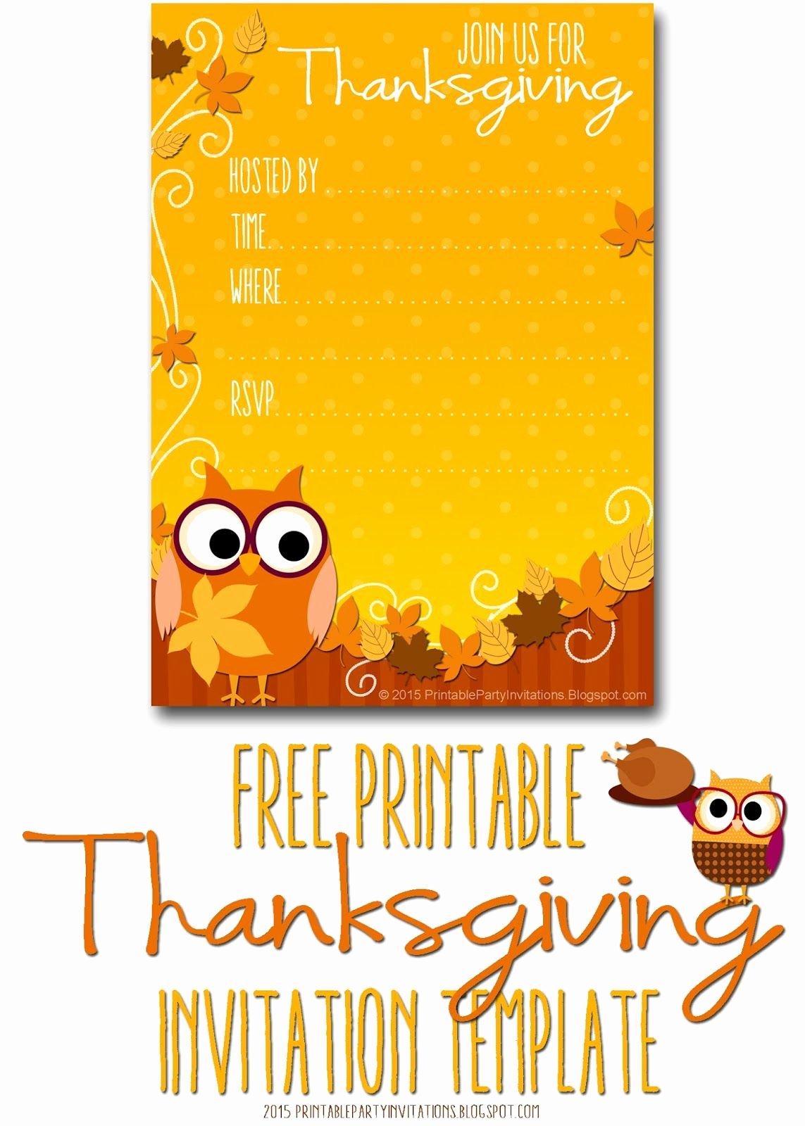 Fall Party Invitation Template Unique Free Printable Autumn Owl Thanksgiving Invitation Template
