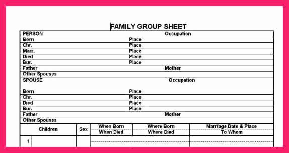 Family Group Template Unique Family Group Sheet Template