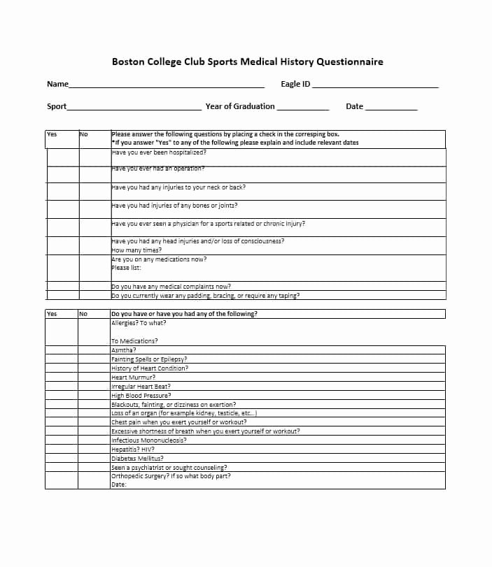 Family Medical History Questionnaire Template Best Of 59 Health History Questionnaire Templates [family Medical]