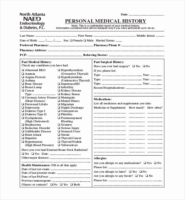 Family Medical History Questionnaire Template Best Of General Medical History Questionnaire tolg Jcmanagement