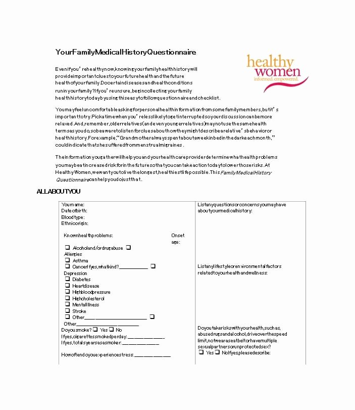 Family Medical History Questionnaire Template Fresh 59 Health History Questionnaire Templates [family Medical]
