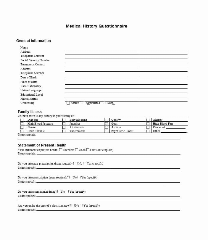 Family Medical History Questionnaire Template Unique 59 Health History Questionnaire Templates [family Medical]