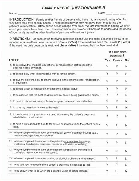 Family Needs assessment Unique Family Needs Questionaire 25 Copies