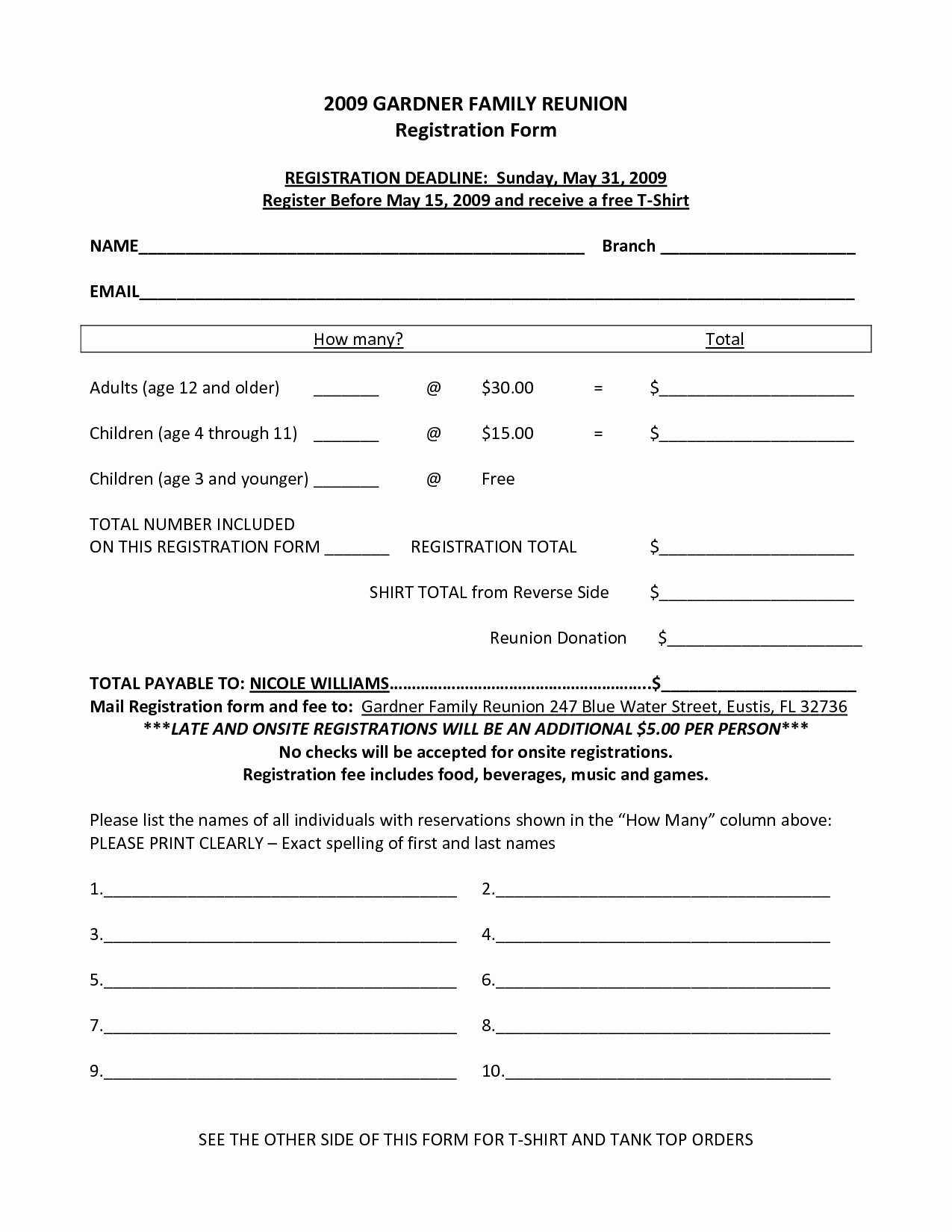 Family Reunion Agenda Template New Family Reunion Registration form Template …