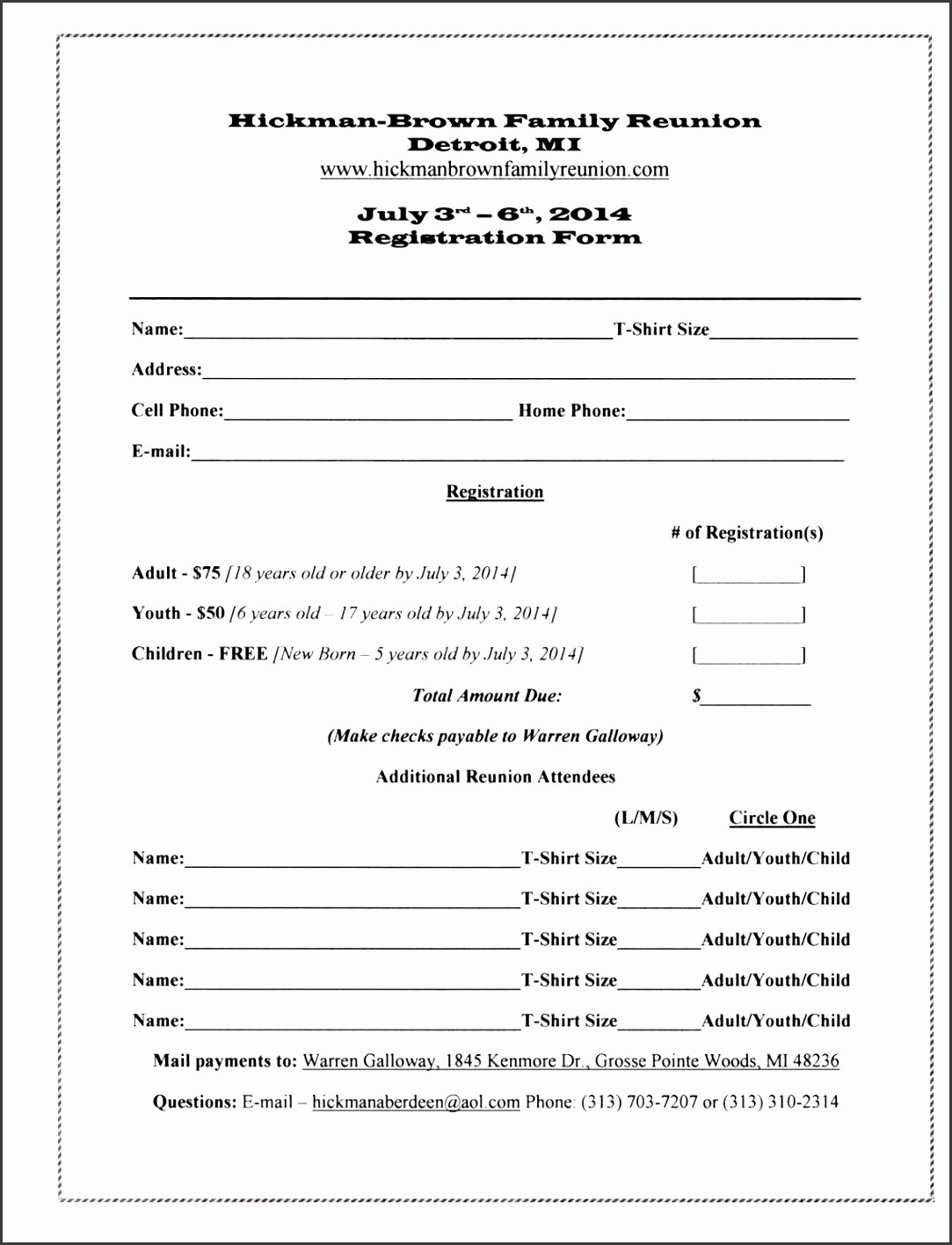 Family Reunion Registration form Doc Fresh 7 Family Reunion Registration form Template