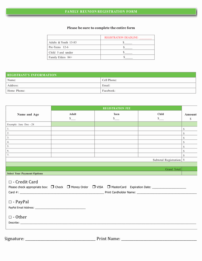 Family Reunion Registration form Doc Fresh Family Reunion Registration form In Word and Pdf formats