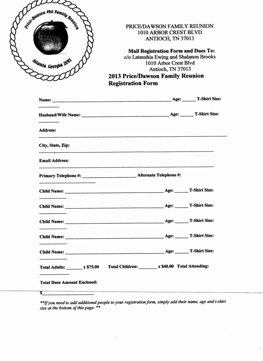 Family Reunion Registration form Doc Inspirational Family Reunion Letter Template Sampletemplatess