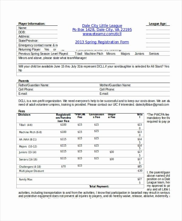 Family Reunion Registration form Doc Lovely Registration form Template 9 Free Pdf Word Documents