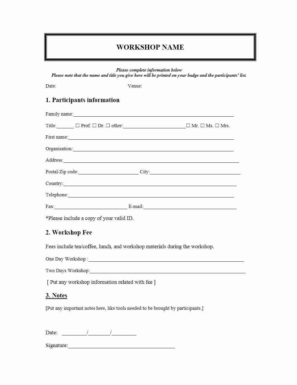 Family Reunion Registration form Doc Unique Workshop Registration form