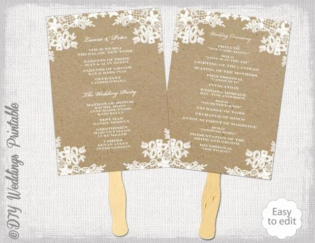 "Fan Wedding Programs Templates Beautiful Rustic Wedding Fan Program Template ""rustic Lace"" Diy"