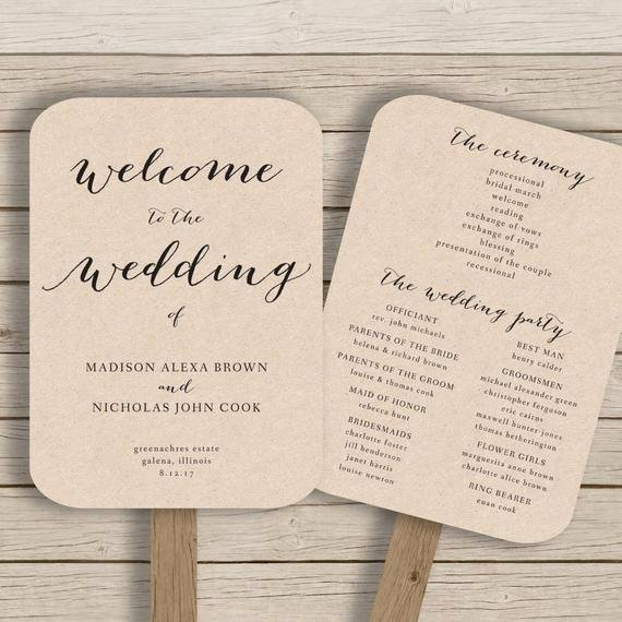 Fan Wedding Programs Templates Beautiful Wedding Program Fan Template Printable by Hopestreetprintables