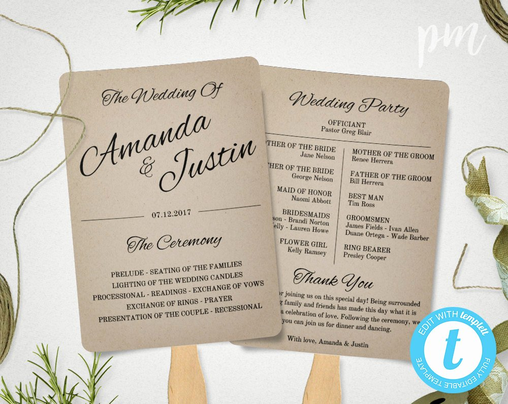 Fan Wedding Programs Templates Best Of Rustic Wedding Program Fan Template Fan Wedding Program
