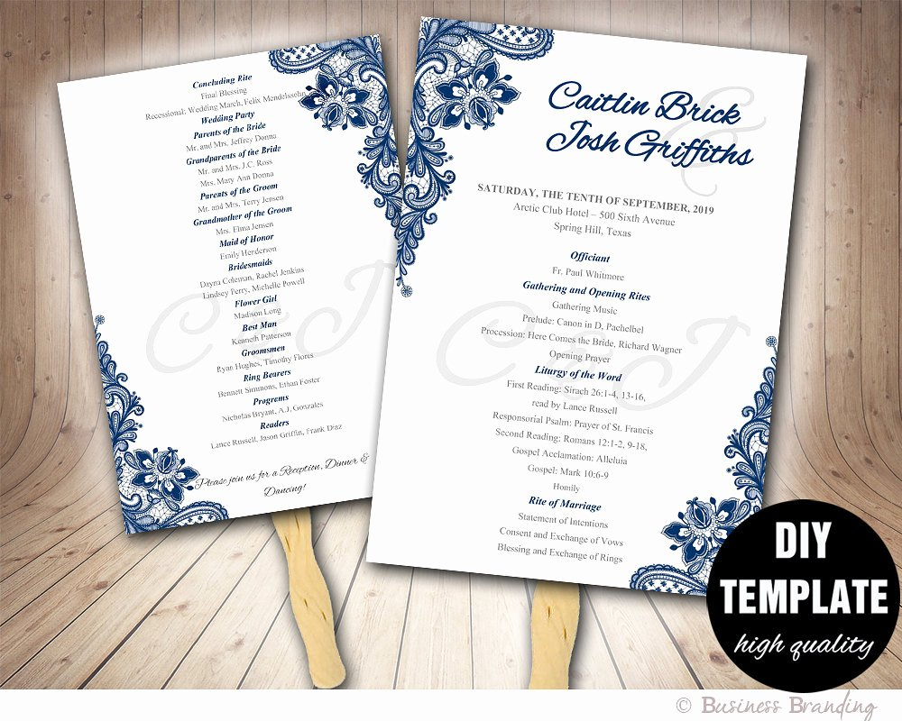 Fan Wedding Programs Templates Fresh Blue Wedding Programs Fan Template Diy Instant