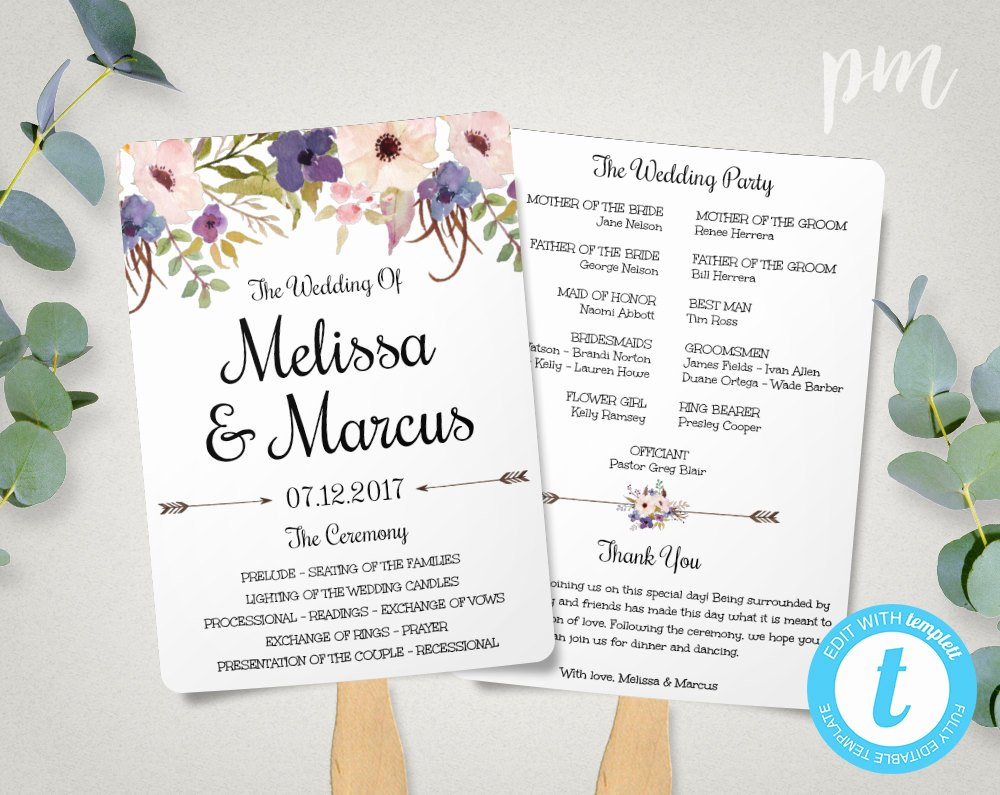 Fan Wedding Programs Templates Fresh Lavender Wedding Program Fan Template Watercolor Flowers