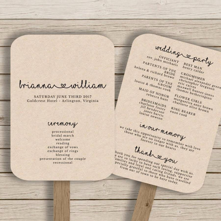 Fan Wedding Programs Templates Fresh Wedding Fan Program Template Rustic Wedding Fan