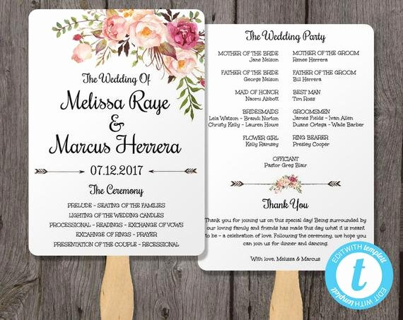 Fan Wedding Programs Templates Fresh Wedding Program Fan Template Bohemian Floral Instant by