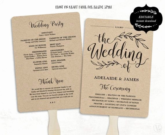 Fan Wedding Programs Templates Lovely Printable Wedding Program Template Rustic Wedding Fan