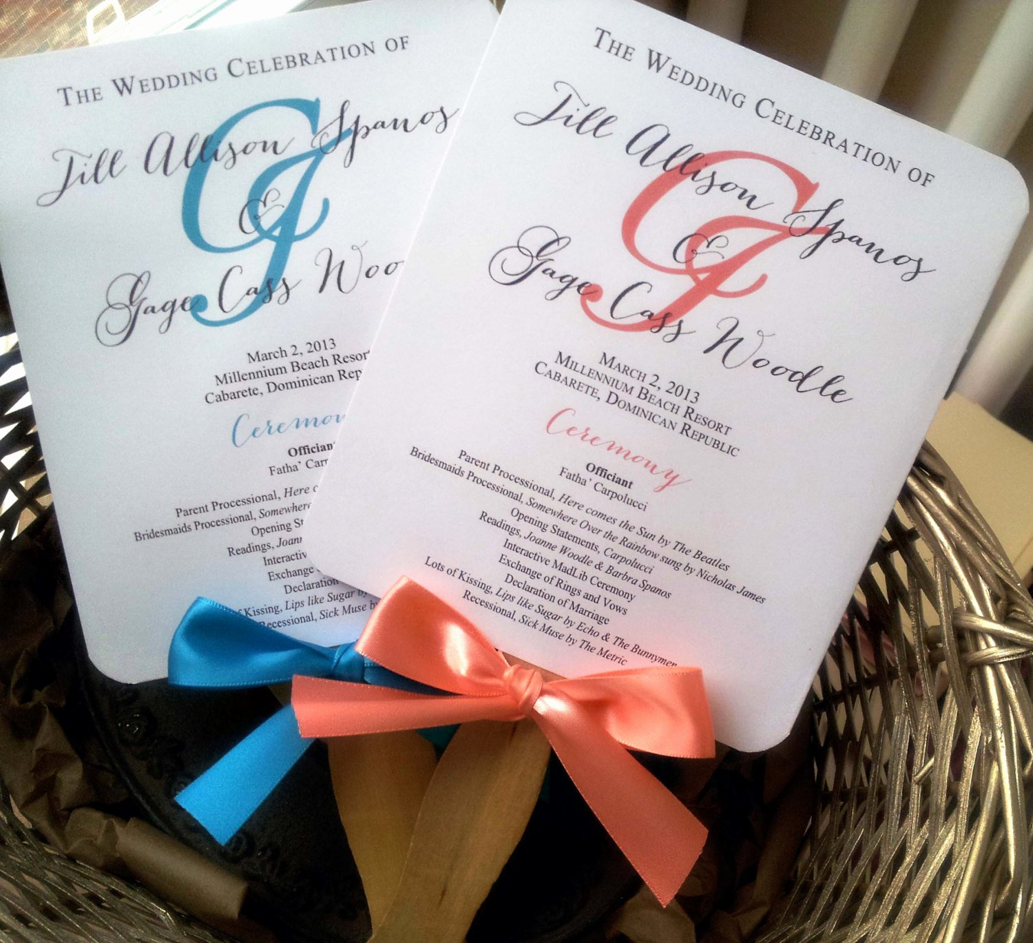 Fan Wedding Programs Templates Lovely Turquoise Wedding Program Fans Pick Two by Pinkorchidinvites