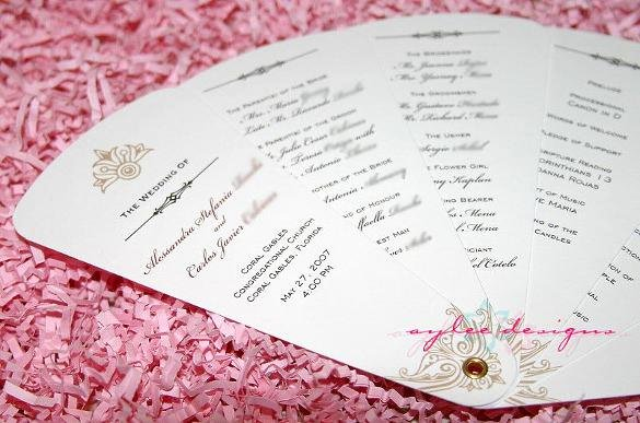 Fan Wedding Programs Templates Luxury 44 Wedding Program Templates Free Download