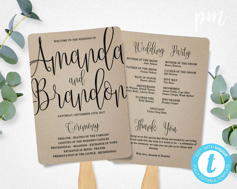 Fan Wedding Programs Templates New Wedding Program Fan Template Calligraphy Script Printable