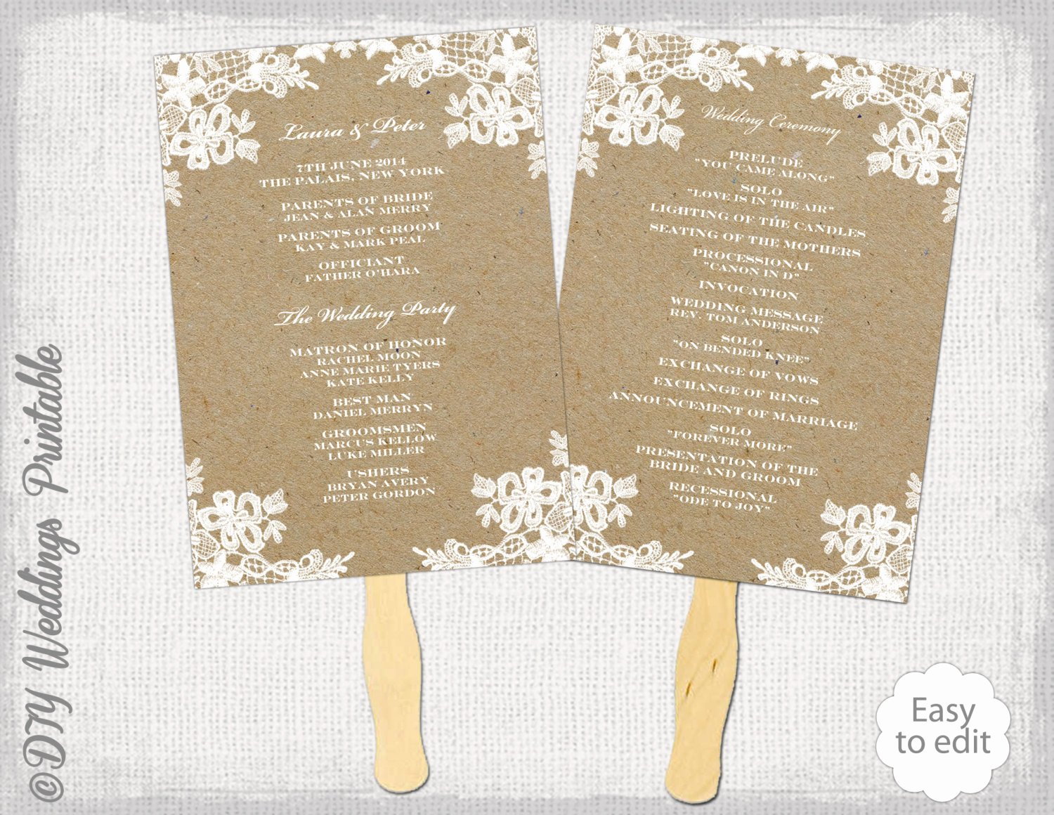 Fan Wedding Programs Templates Unique Rustic Wedding Fan Program Template Rustic Lace