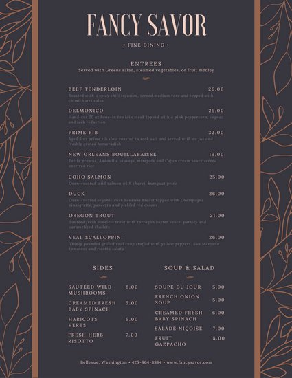 Fancy Menu Template Beautiful Cream and Blue Fancy Border Dinner Menu Templates by Canva