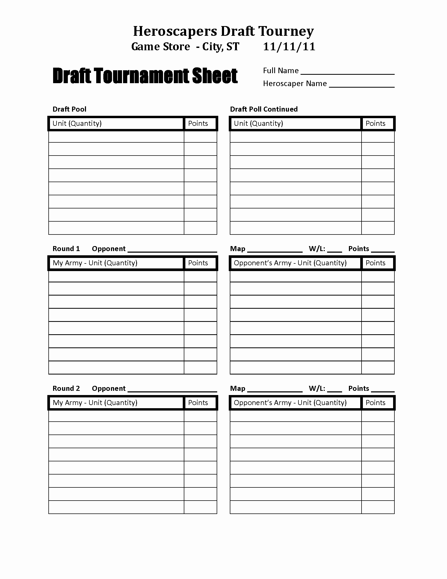 Fantasy Football Roster Sheet Blank Awesome Heroscapers Downloads Draft tournament Sheet