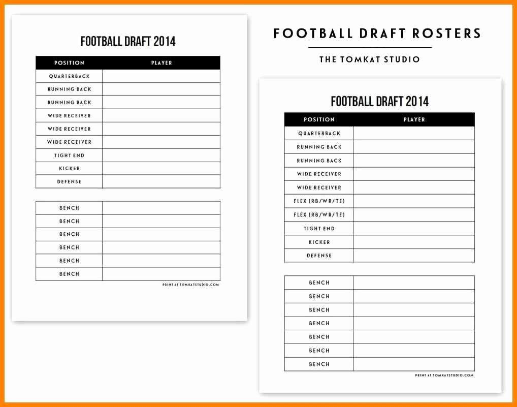 Fantasy Football Roster Sheet Blank New Fantasy Football Draft Sheet Template