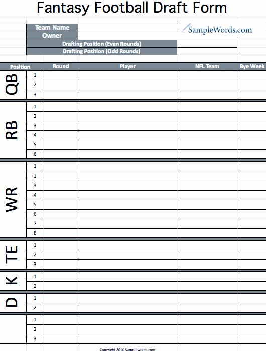 Fantasy Football Roster Sheet Blank New Printable Fantasy Football Draft form