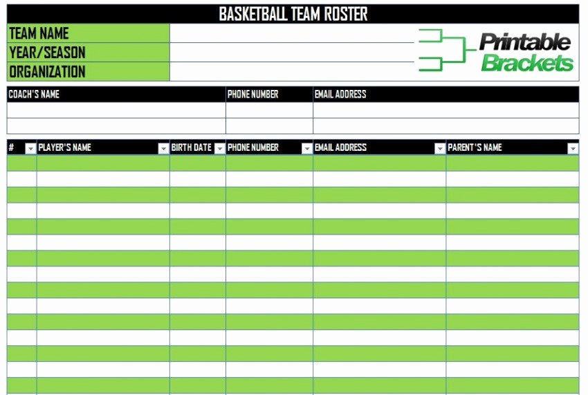 Fantasy Football Roster Sheet Blank Unique Basketball Roster Template