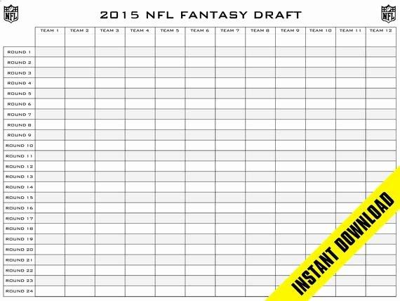 Fantasy Football Roster Sheet Blank Unique Fantasy Football Draft Board 12 Teams 24 by Sticktapdesigns