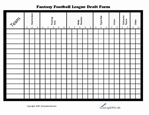 Fantasy Football Roster Sheet Blank Unique Printable Fantasy Football League Draft form