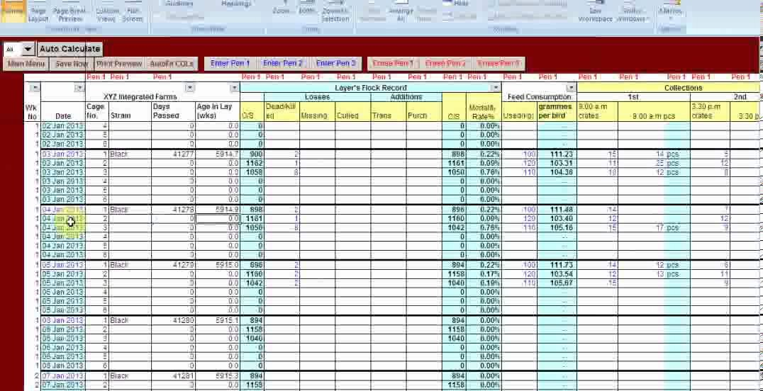 Farm Record Keeping Excel Template Lovely Excel Vb Driven Poultry Layer Farm Manager software