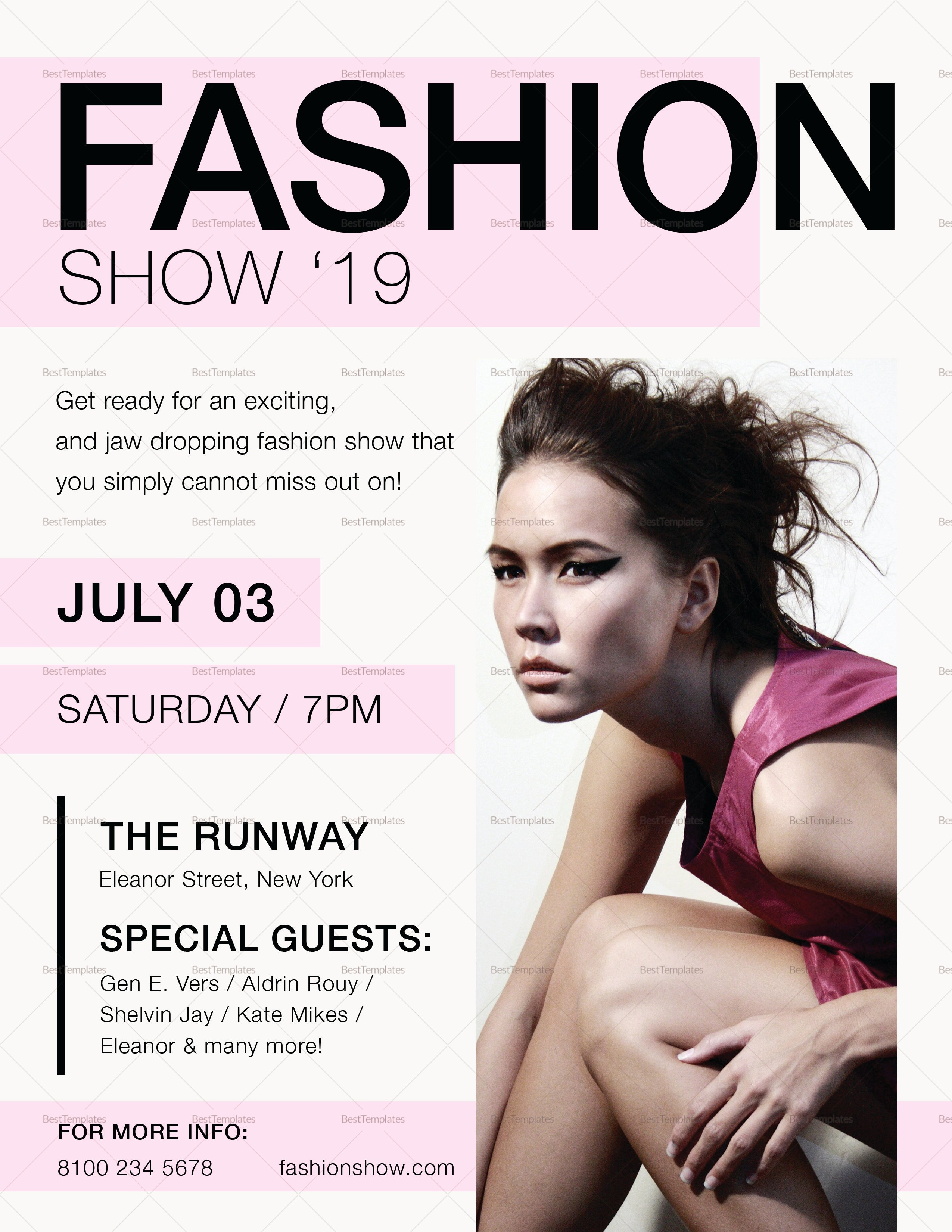 Fashion Show Flyer Template Awesome Fashion Show Flyer Design Template In Psd Word Publisher