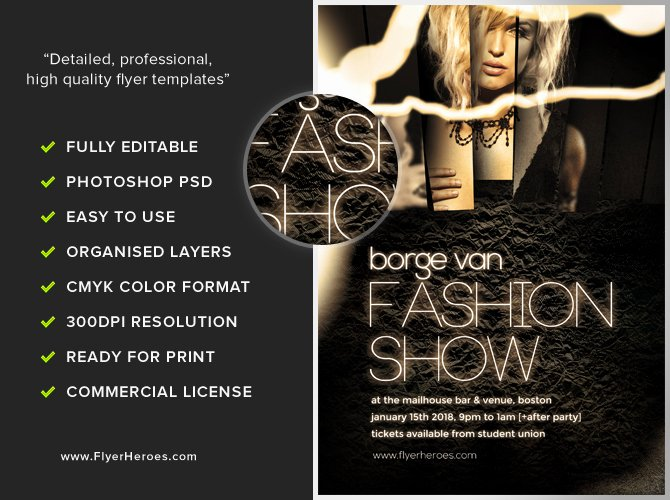 Fashion Show Flyer Template Awesome Fashion Show Flyer Template Flyerheroes