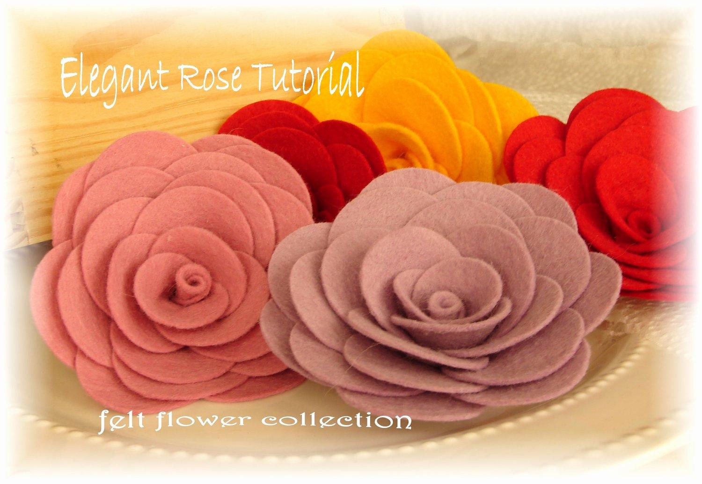Felt Rose Pattern Beautiful Felt Flower Tutorial Wool Felt Rose by Feltflowercollection