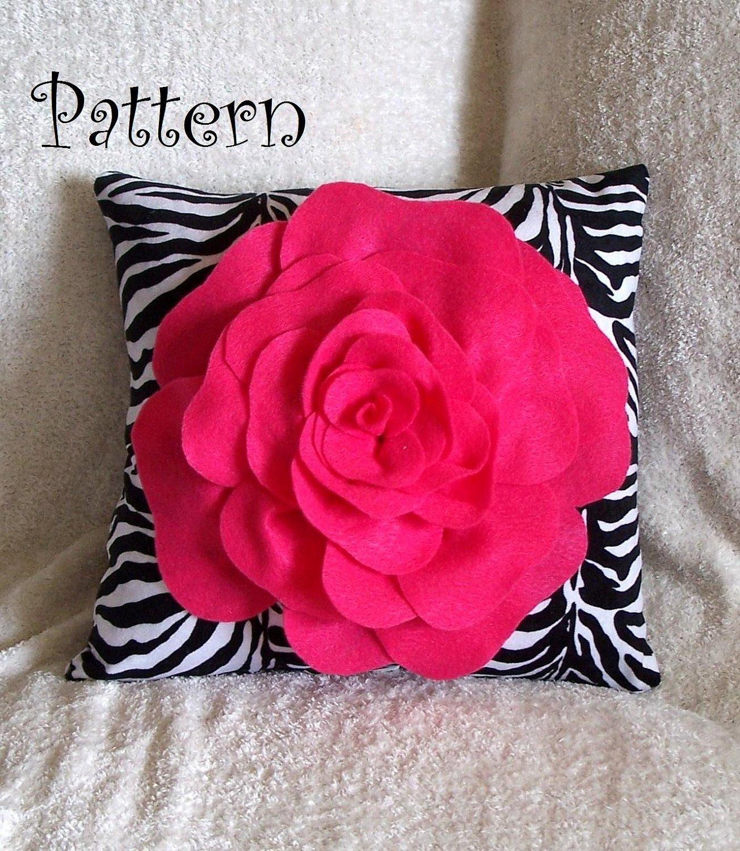 Felt Rose Pattern Beautiful Flower Pillow Pattern Pdf Felt Rose with Bonus Pillow