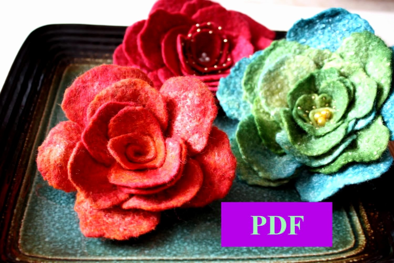 Felt Rose Pattern Elegant Flower Pattern Pdf Tutorial Wet Felted Flower Pin Brooch