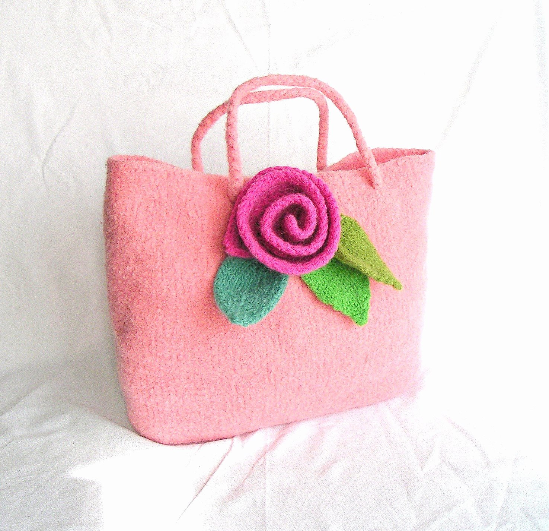 Felt Rose Pattern Unique Felt Rose Bag Knitting Pattern Tutorial by