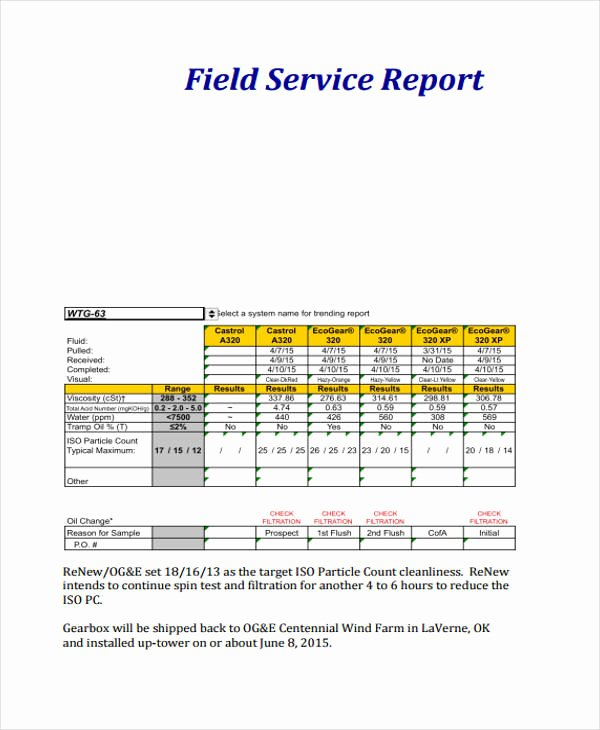 Field Report Example Awesome 19 Service Report Templates Free Sample Example format