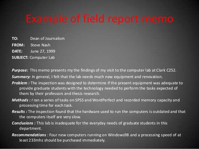 Field Report Example Fresh Memo and Its Types