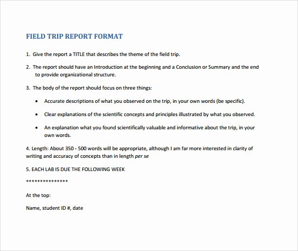 Field Report Example Inspirational 18 Sample Trip Reports Word Pages Pdf
