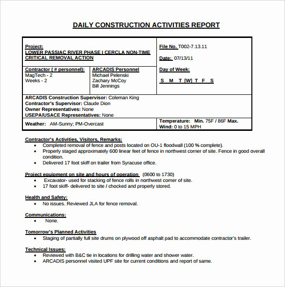 Field Report Template Awesome 24 Daily Construction Report Templates Pdf Google Docs