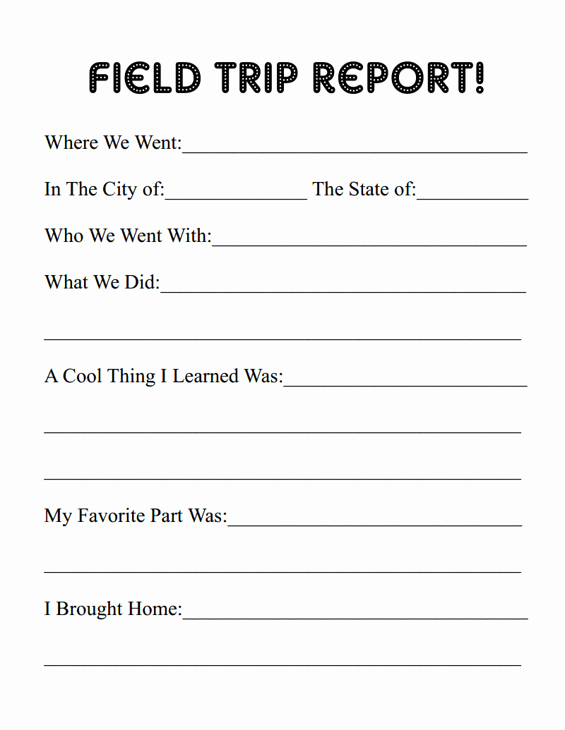 Field Report Template Beautiful Erie Canal Homeschool Field Trip and Report Printable
